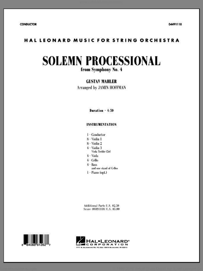 Solemn Processional (from 'Symphony No. 4') (COMPLETE) sheet music for orchestra by Gustav Mahler and Jamin Hoffman, classical score, intermediate skill level
