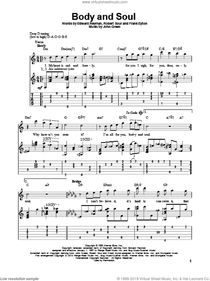 Body And Soul sheet music for guitar solo by Edward Heyman, Frank Eyton, Johnny Green and Robert Sour, intermediate