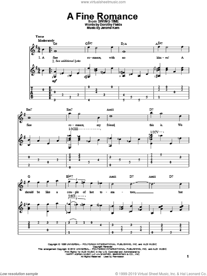A Fine Romance sheet music for guitar solo by Jerome Kern and Dorothy Fields, intermediate skill level