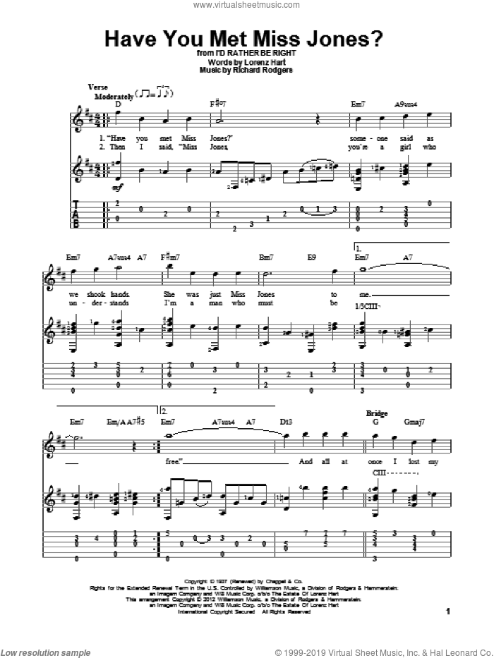 Have You Met Miss Jones? sheet music for guitar solo by Rodgers & Hart, Lorenz Hart and Richard Rodgers, intermediate. Score Image Preview.