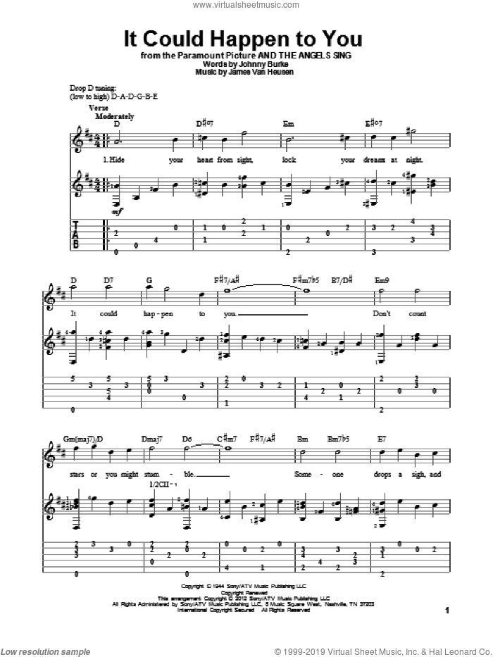 It Could Happen To You sheet music for guitar solo by June Christy, Jimmy van Heusen and John Burke, intermediate skill level