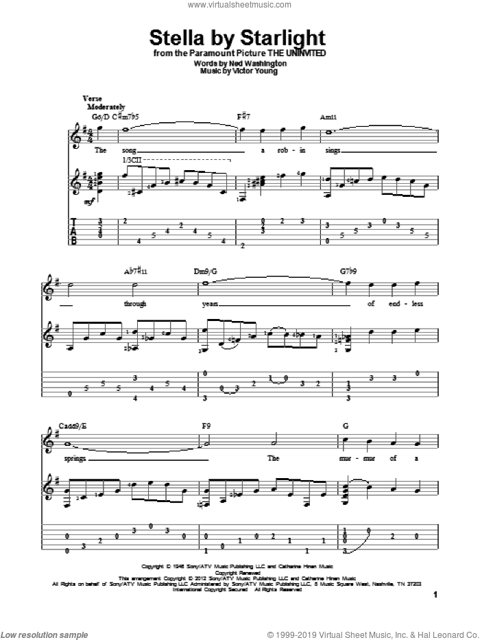 Stella By Starlight sheet music for guitar solo by Victor Young and Ned Washington, intermediate