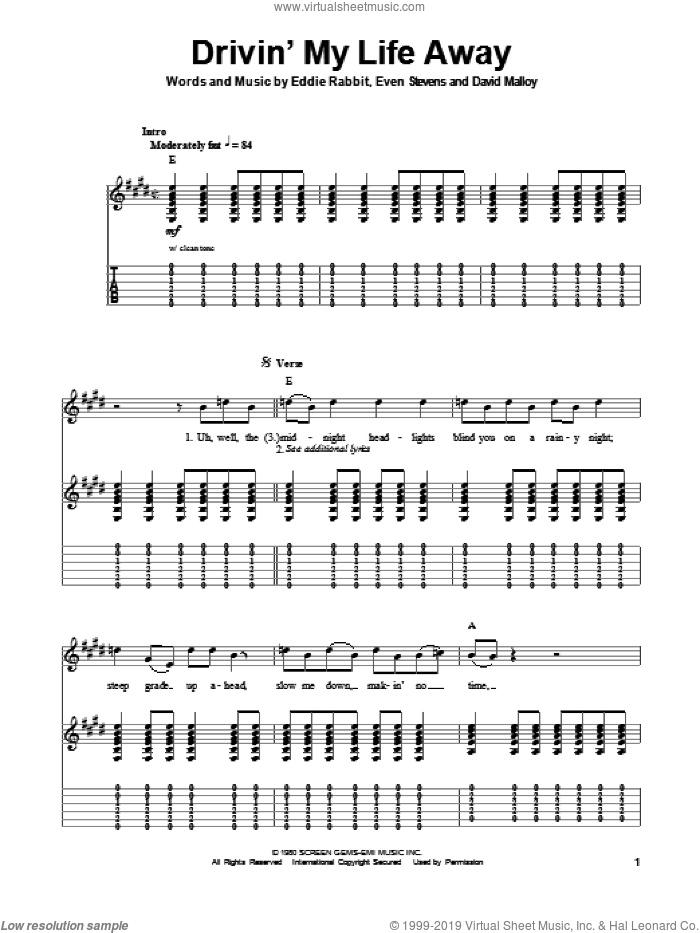 Drivin' My Life Away sheet music for guitar (tablature, play-along) by Eddie Rabbitt, David Malloy and Even Stevens, intermediate skill level
