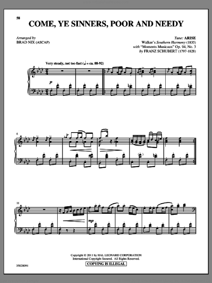 Come, Ye Sinners (Poor And Needy) sheet music for piano solo by Franz Schubert and Brad Nix, intermediate skill level