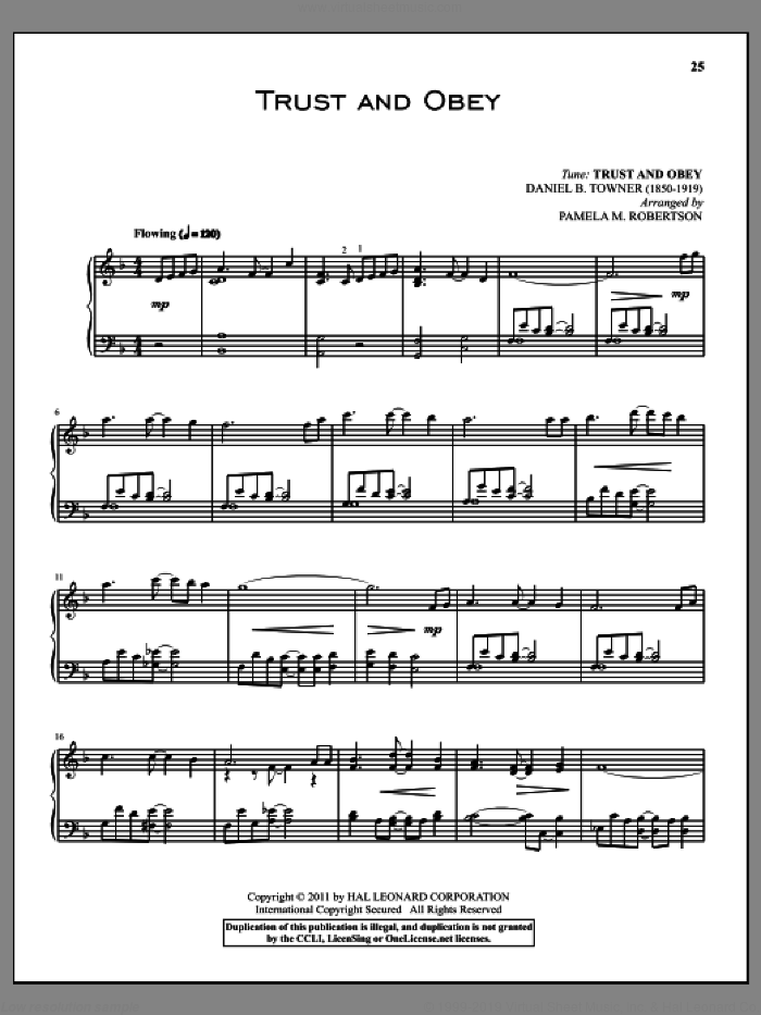 Trust And Obey sheet music for piano solo by Daniel B. Towner. Score Image Preview.