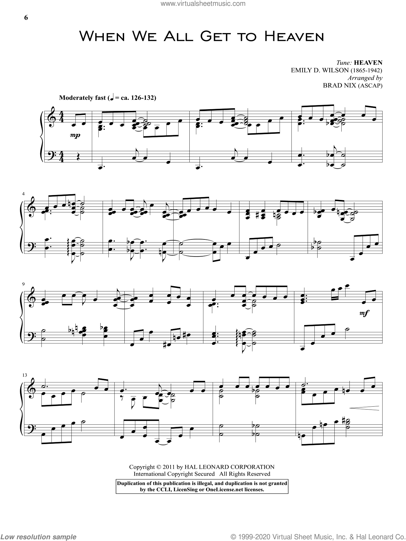 When We All Get To Heaven sheet music for piano solo by Emily D. Wilson and Eliza E. Hewitt. Score Image Preview.