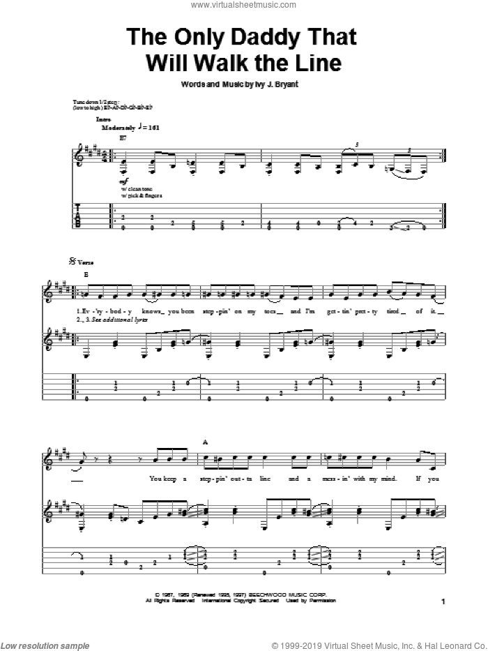 The Only Daddy That Will Walk The Line sheet music for guitar (tablature, play-along) by Ivy J. Bryant and Waylon Jennings. Score Image Preview.