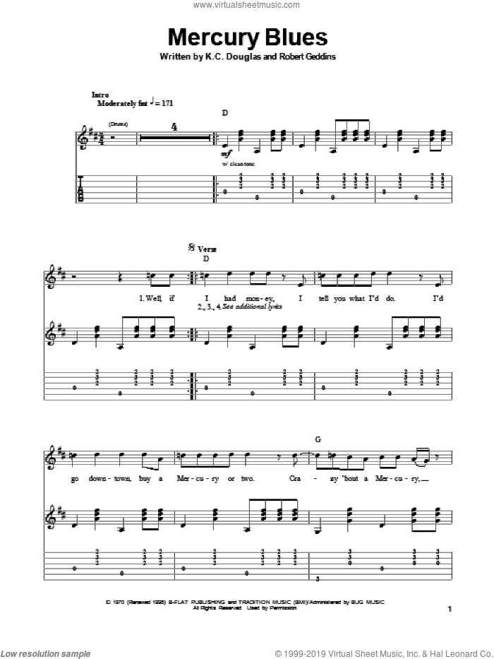 Mercury Blues sheet music for guitar (tablature, play-along) by Robert Geddins