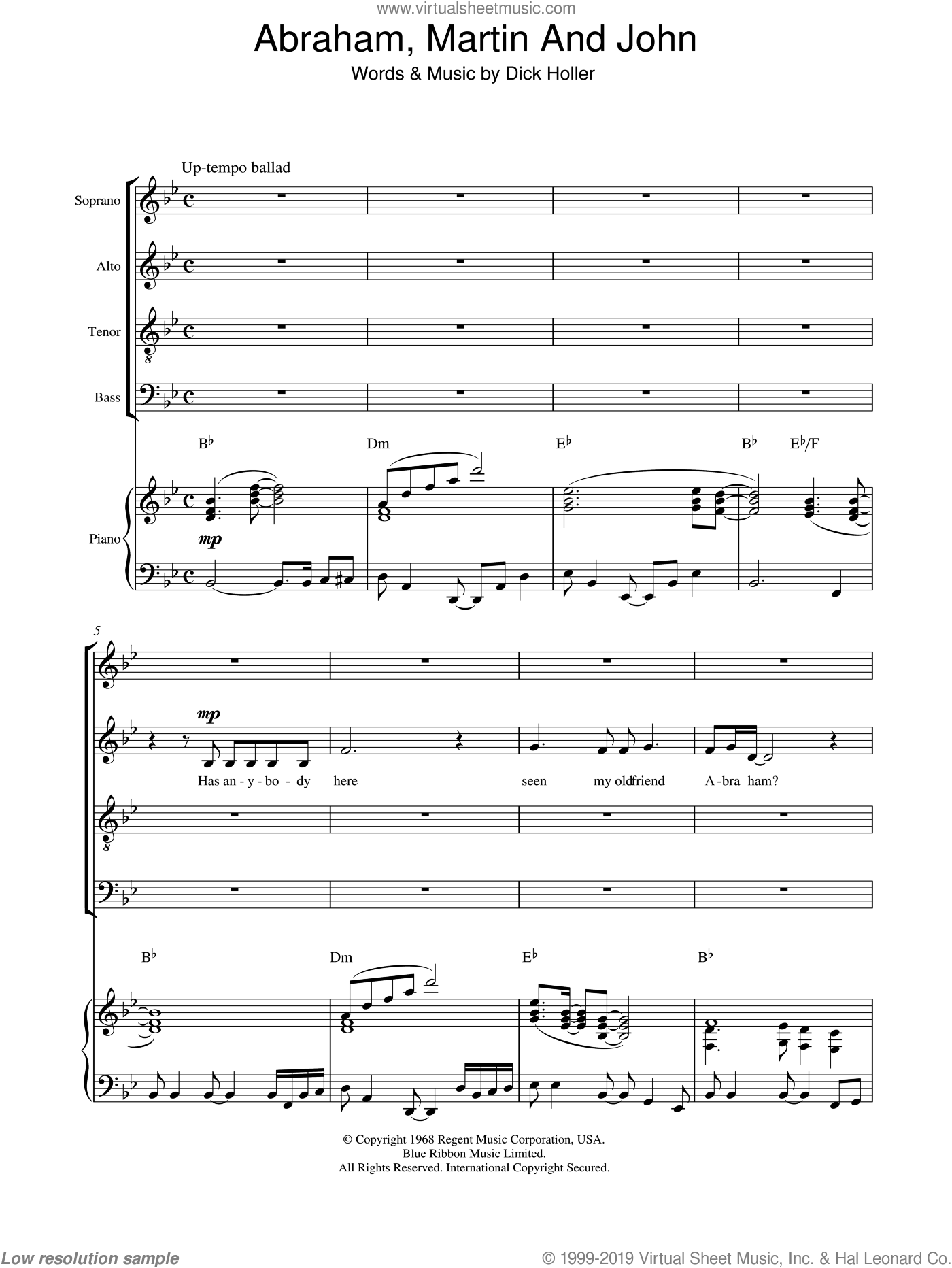 Abraham, Martin And John sheet music for choir and piano (SATB) by Dick Holler