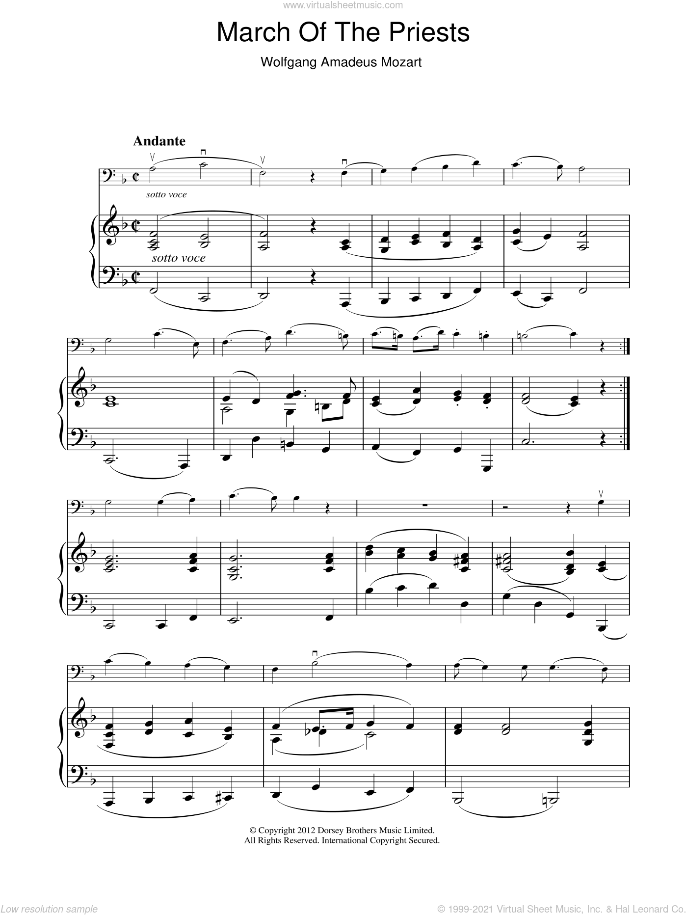 March Of The Priests sheet music for voice, piano or guitar by Wolfgang Amadeus Mozart. Score Image Preview.