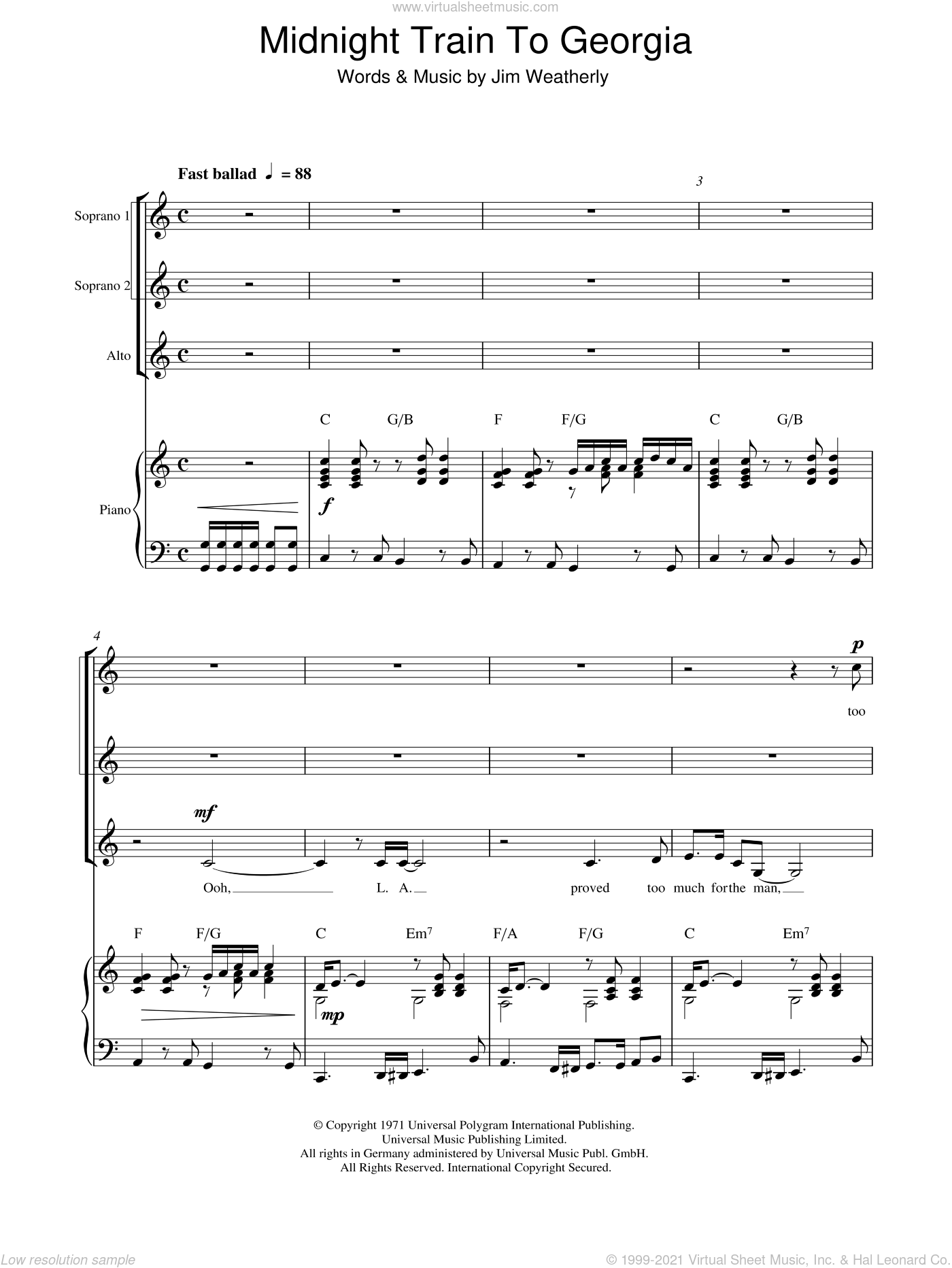 Midnight Train to Georgia sheet music for choir and piano (SSA) by Steve Cropper