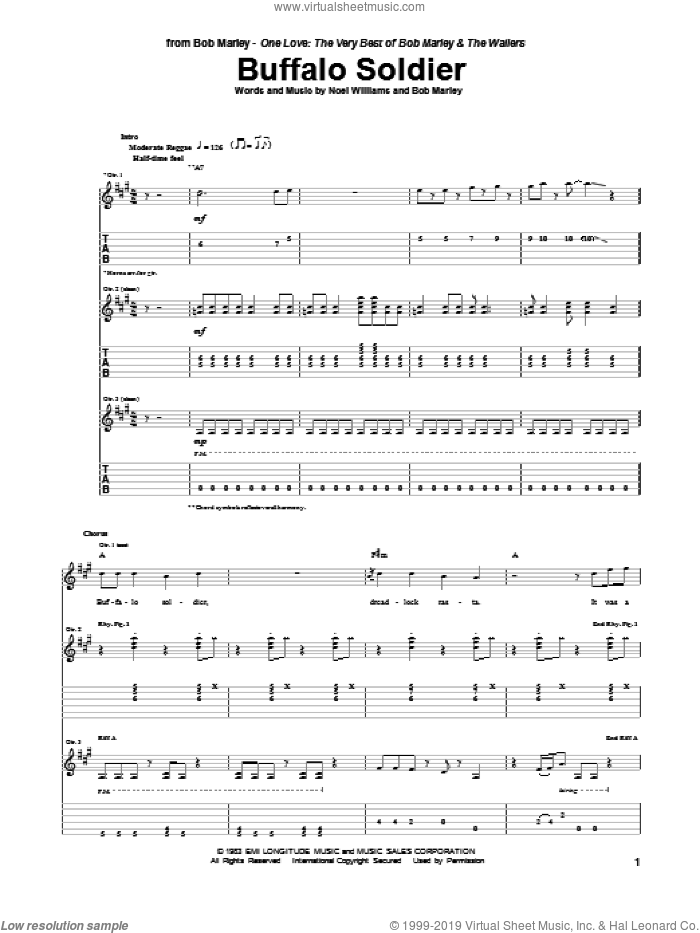 Buffalo Soldier sheet music for guitar (tablature) by Noel Williams and Bob Marley. Score Image Preview.