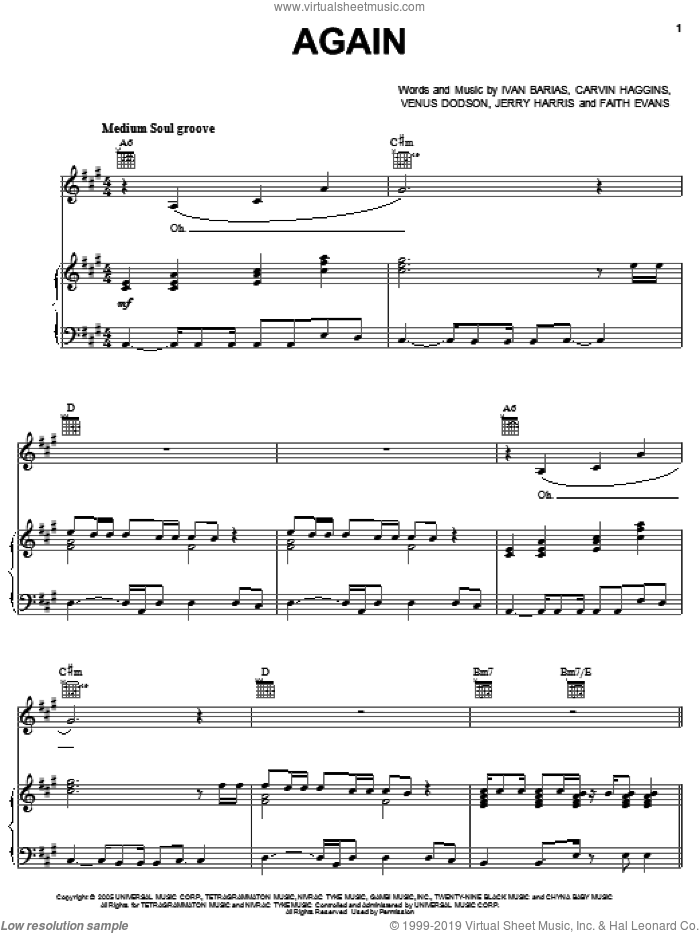 Again sheet music for voice, piano or guitar by Venus Dodson