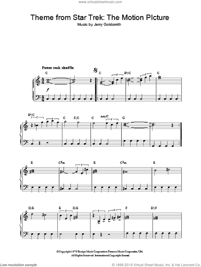 Theme from Star Trek: The Motion Picture sheet music for piano solo by Jerry Goldsmith and Star Trek(R), intermediate skill level