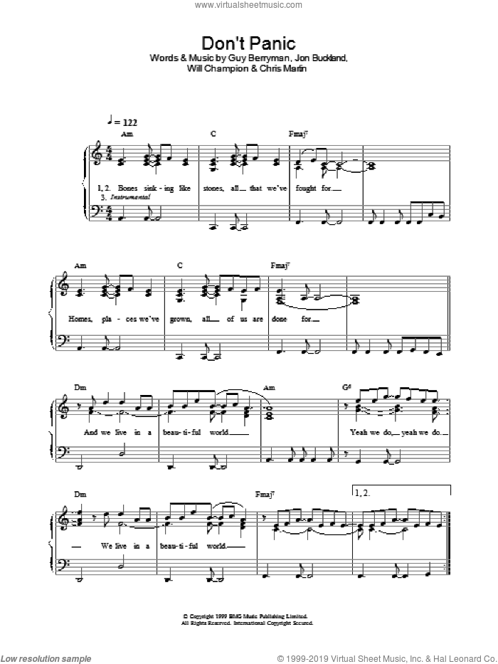 Don't Panic sheet music for piano solo by Coldplay, Berryman,Guy, Buckland,Jon, Chris Martin, Guy Berryman, Jon Buckland and Will Champion, easy skill level