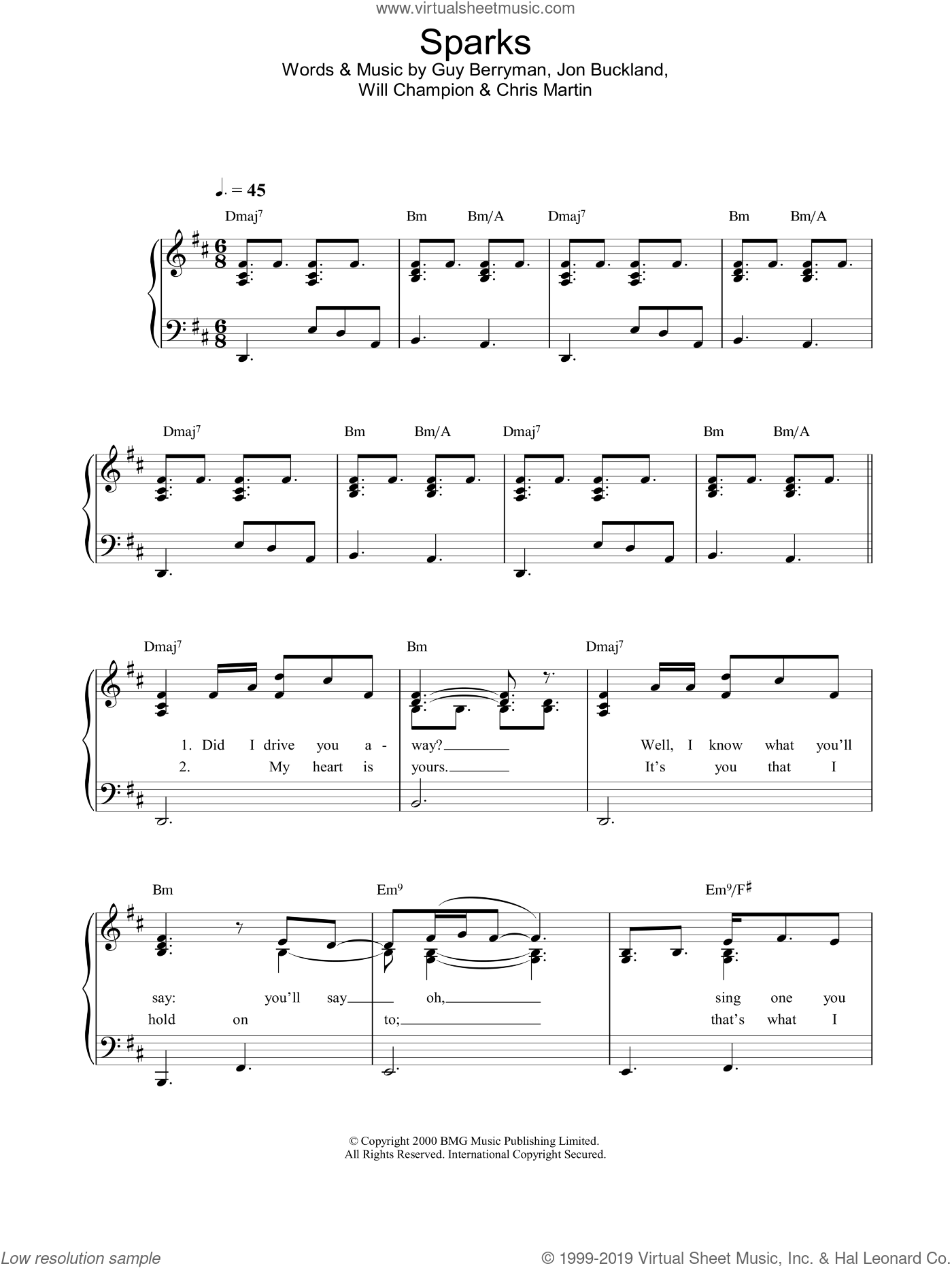 Sparks sheet music for piano solo by Jon Buckland, Coldplay, Chris Martin, Guy Berryman and Will Champion. Score Image Preview.