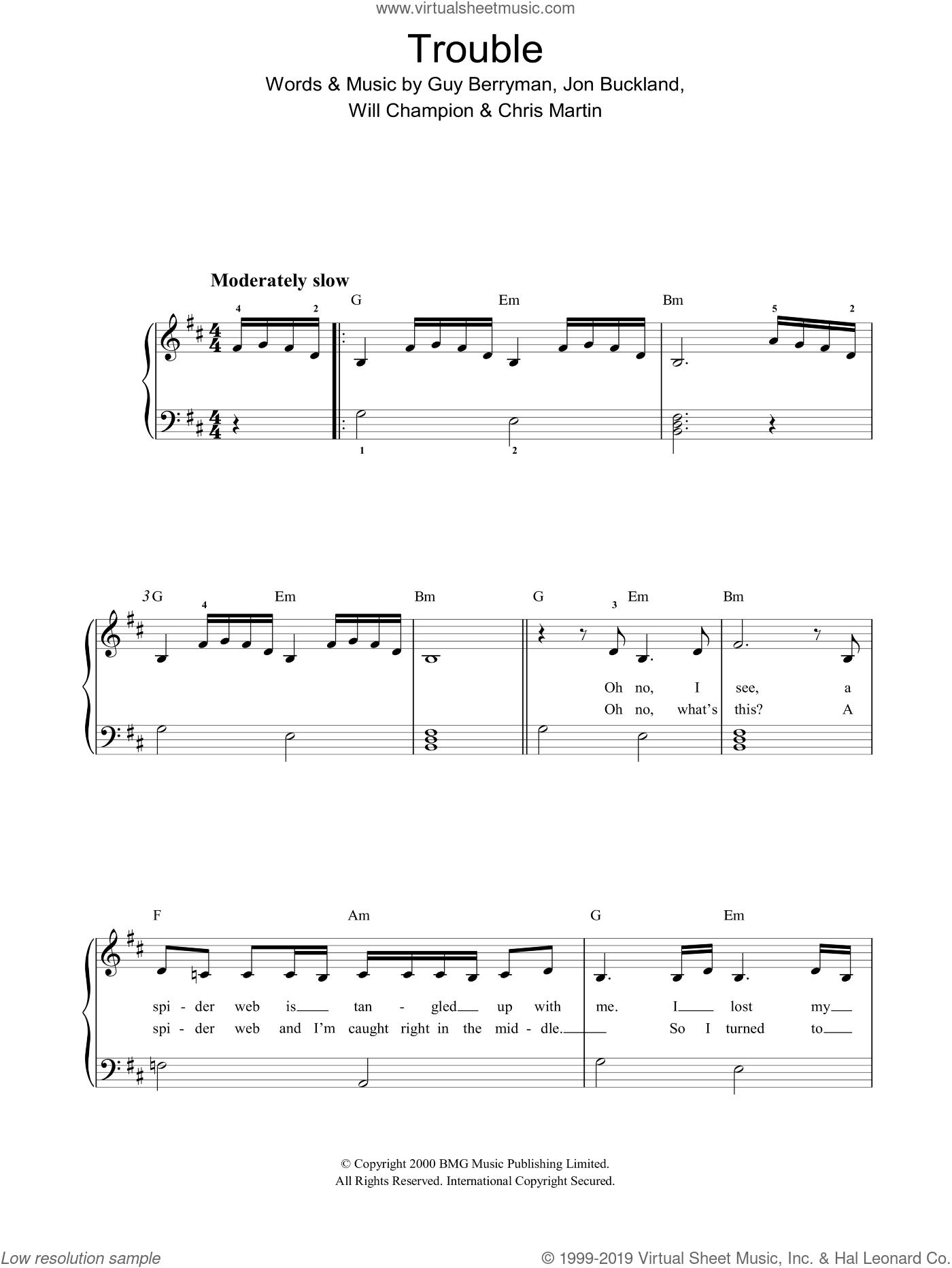 Trouble sheet music for piano solo by Coldplay, Chris Martin, G Berryman, Guy Berryman, J Jon Buckland, Jon Buckland, W & Martin, C Champion and Will Champion, easy skill level