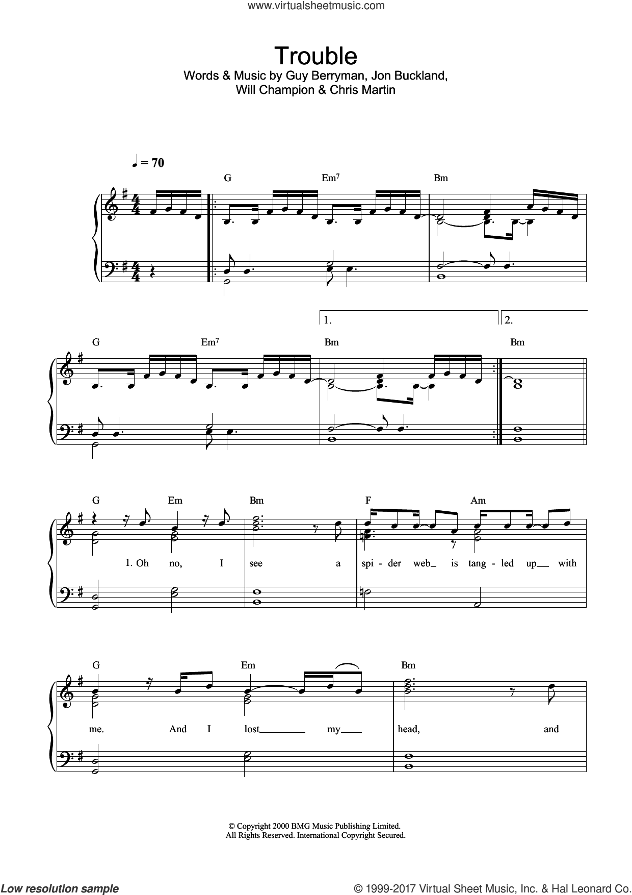 Trouble sheet music for piano solo by Coldplay, Chris Martin, G Berryman, Guy Berryman, J Jon Buckland, Jon Buckland, Jonny Buckland, W & Martin, C Champion and Will Champion, easy skill level