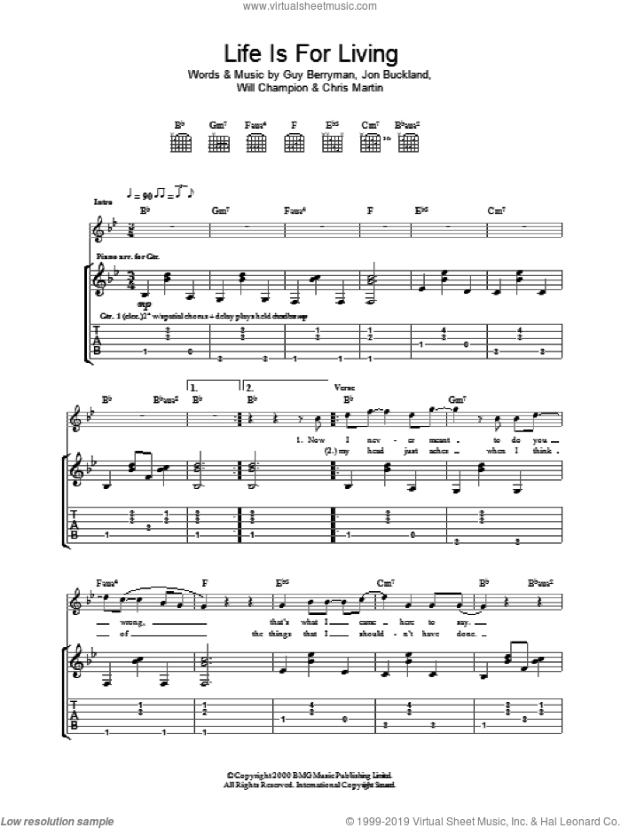Life Is For Living sheet music for guitar (tablature) by Guy Berryman, Coldplay, Berryman,Guy, Buckland,Jon, Chris Martin, Jon Buckland and Will Champion, intermediate skill level
