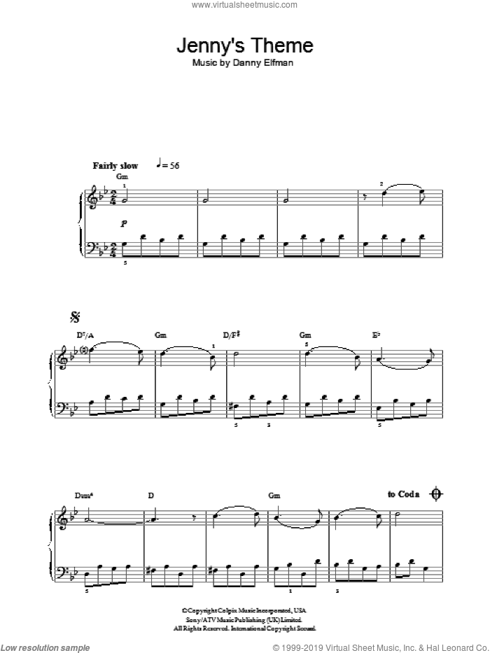Jenny's Theme (from Big Fish) sheet music for voice, piano or guitar by Danny Elfman, intermediate skill level