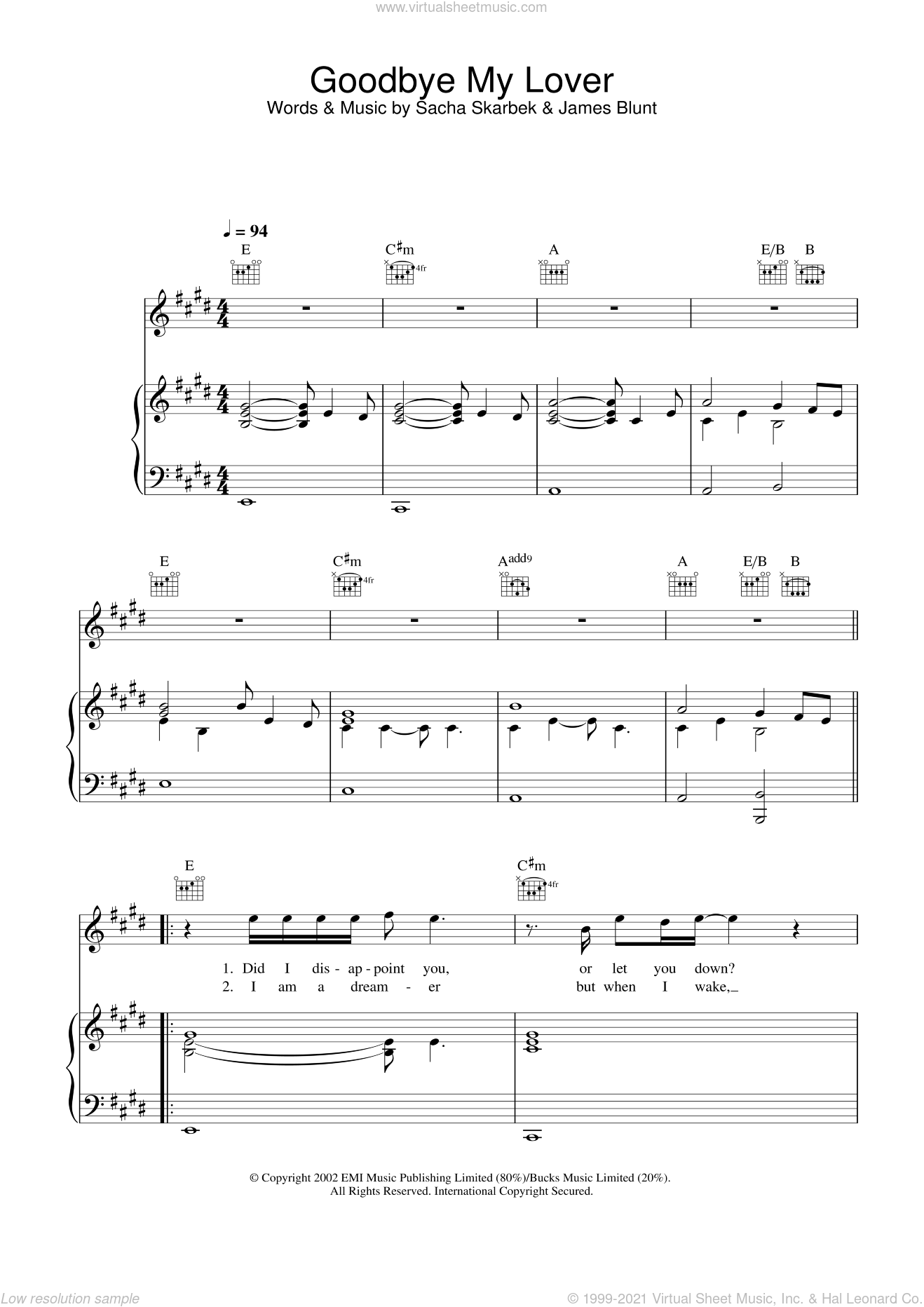 Goodbye My Lover sheet music for voice, piano or guitar by James Blunt and Sacha Skarbek, intermediate skill level