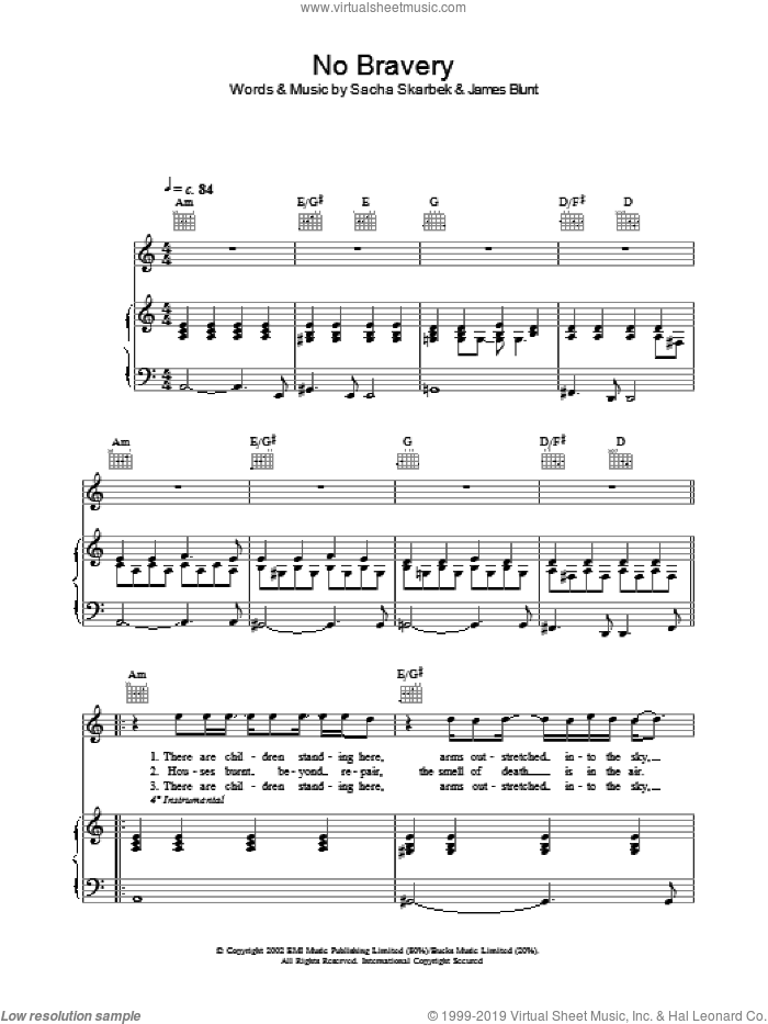 No Bravery sheet music for voice, piano or guitar by James Blunt. Score Image Preview.