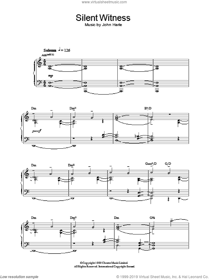 Silent Witness sheet music for piano solo by John Harle, intermediate piano. Score Image Preview.