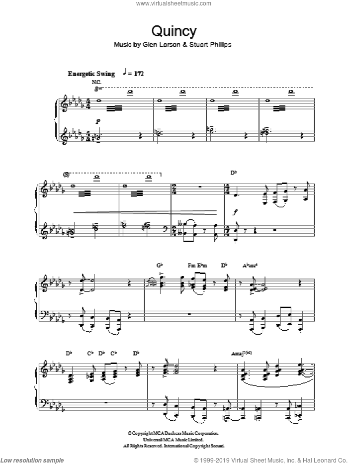 Quincy sheet music for piano solo by Stuart Phillips and Glen Larson