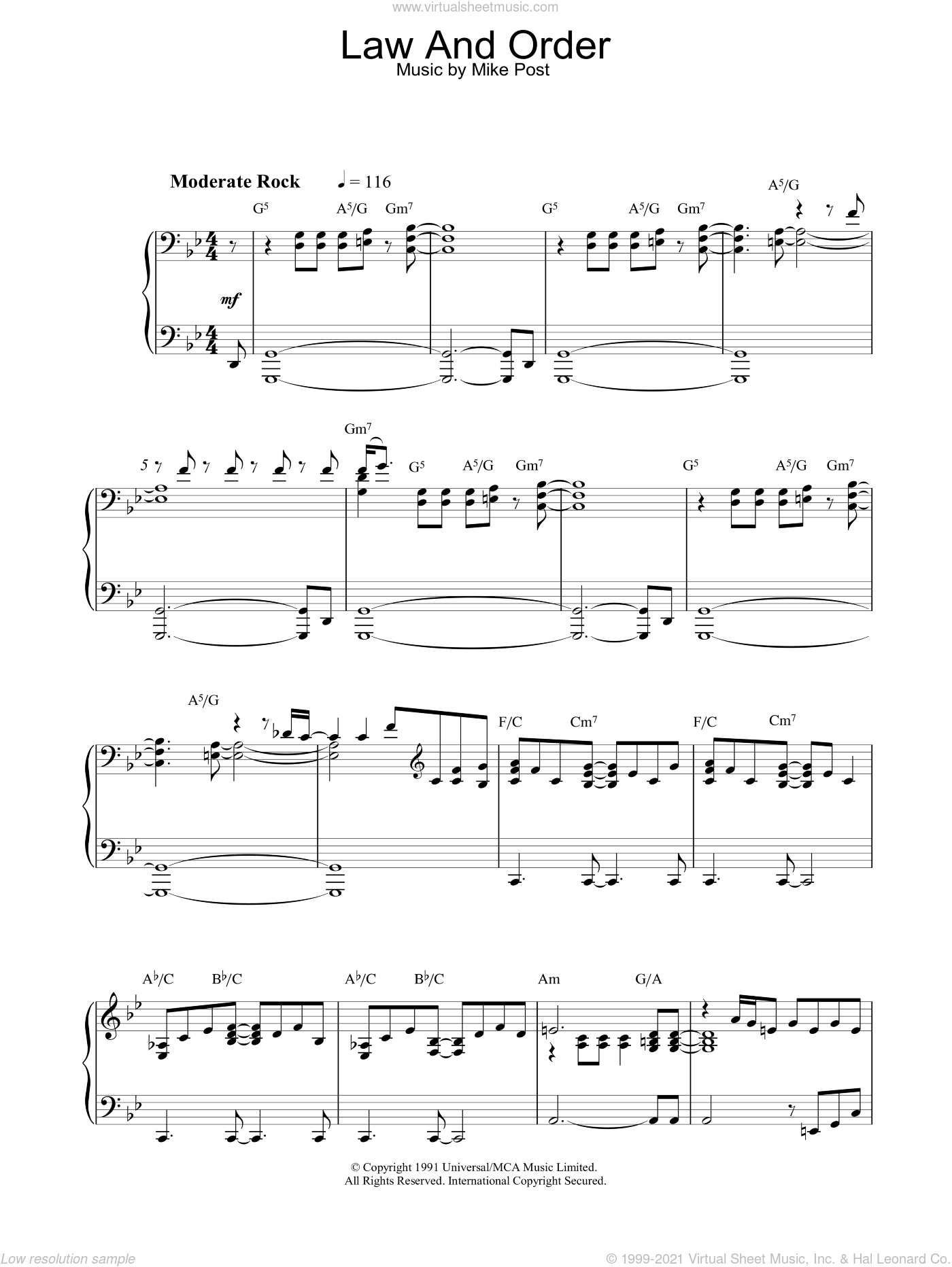 Theme from Law And Order sheet music for piano solo by Mike Post, intermediate skill level