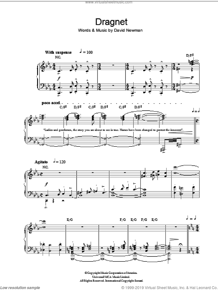 Dragnet sheet music for piano solo by David Newman, intermediate skill level