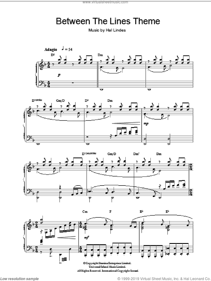 Between The Lines Theme sheet music for piano solo by Hal Lindes, intermediate