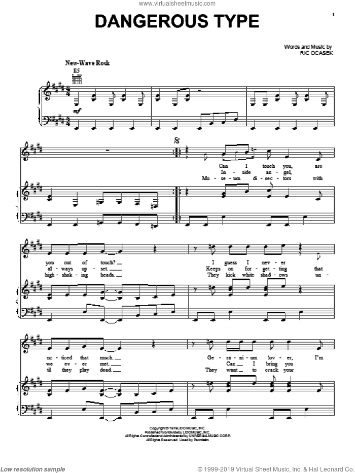 The Dangerous Type sheet music for voice, piano or guitar by Ric Ocasek. Score Image Preview.