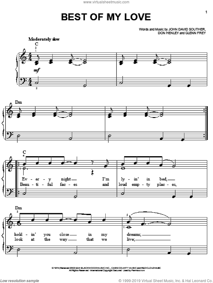 Best Of My Love sheet music for piano solo by Don Henley, The Eagles, Glenn Frey and John David Souther, easy skill level