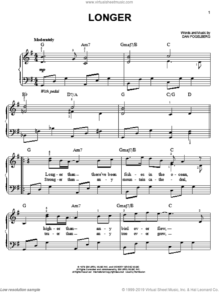 Longer sheet music for piano solo by Dan Fogelberg