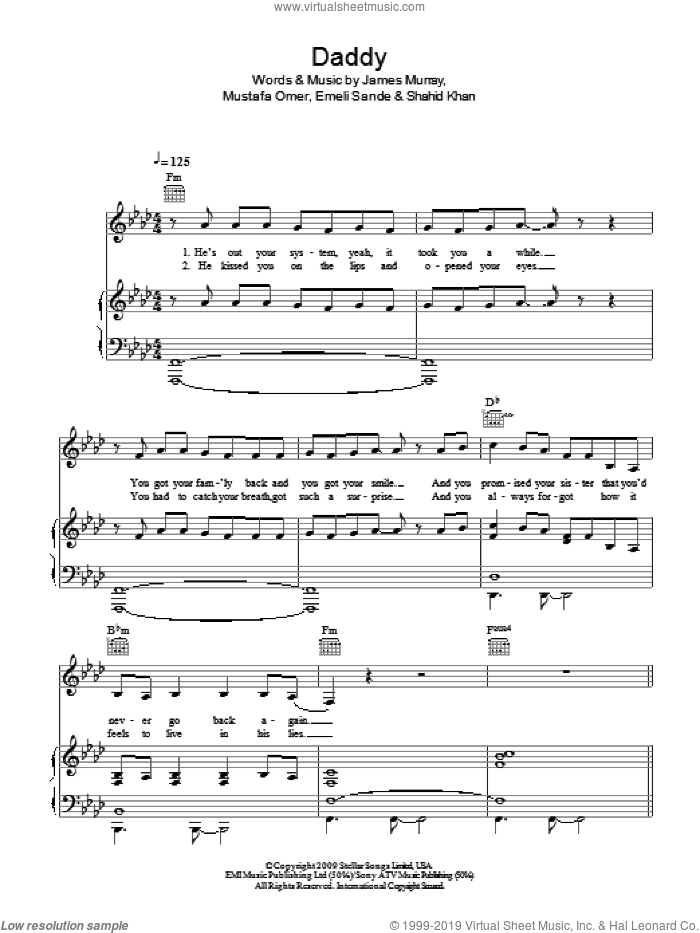 Daddy sheet music for voice, piano or guitar by James Murray