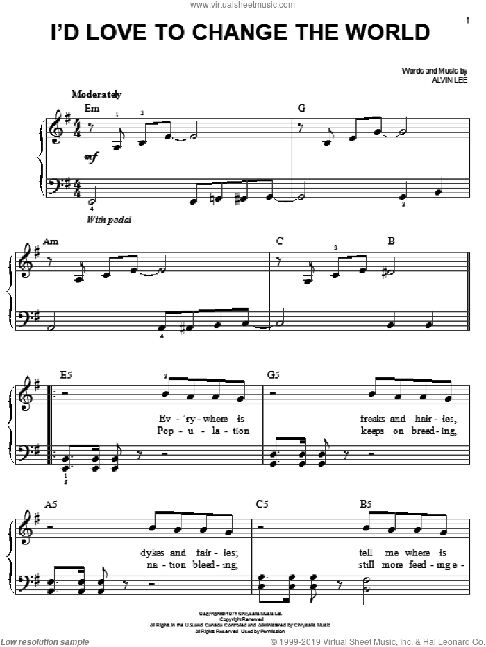 I'd Love To Change The World sheet music for piano solo by Alvin Lee. Score Image Preview.