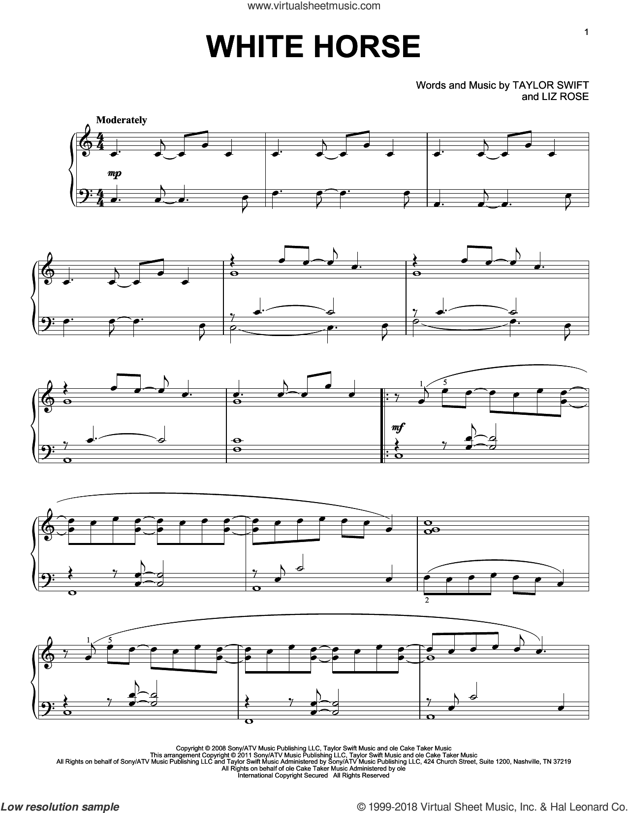 White Horse sheet music for piano solo by Taylor Swift and Liz Rose, intermediate skill level