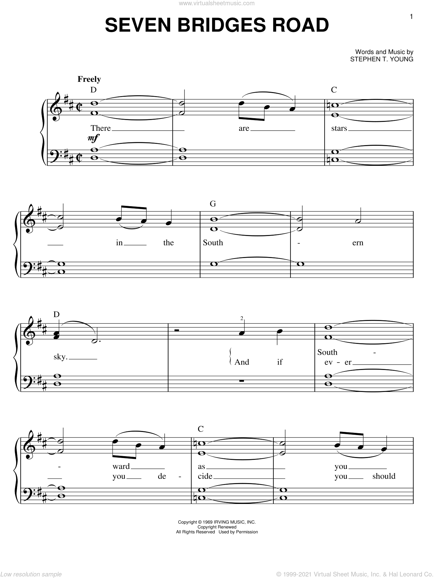 Seven Bridges Road sheet music for piano solo by The Eagles and Stephen T. Young, easy skill level