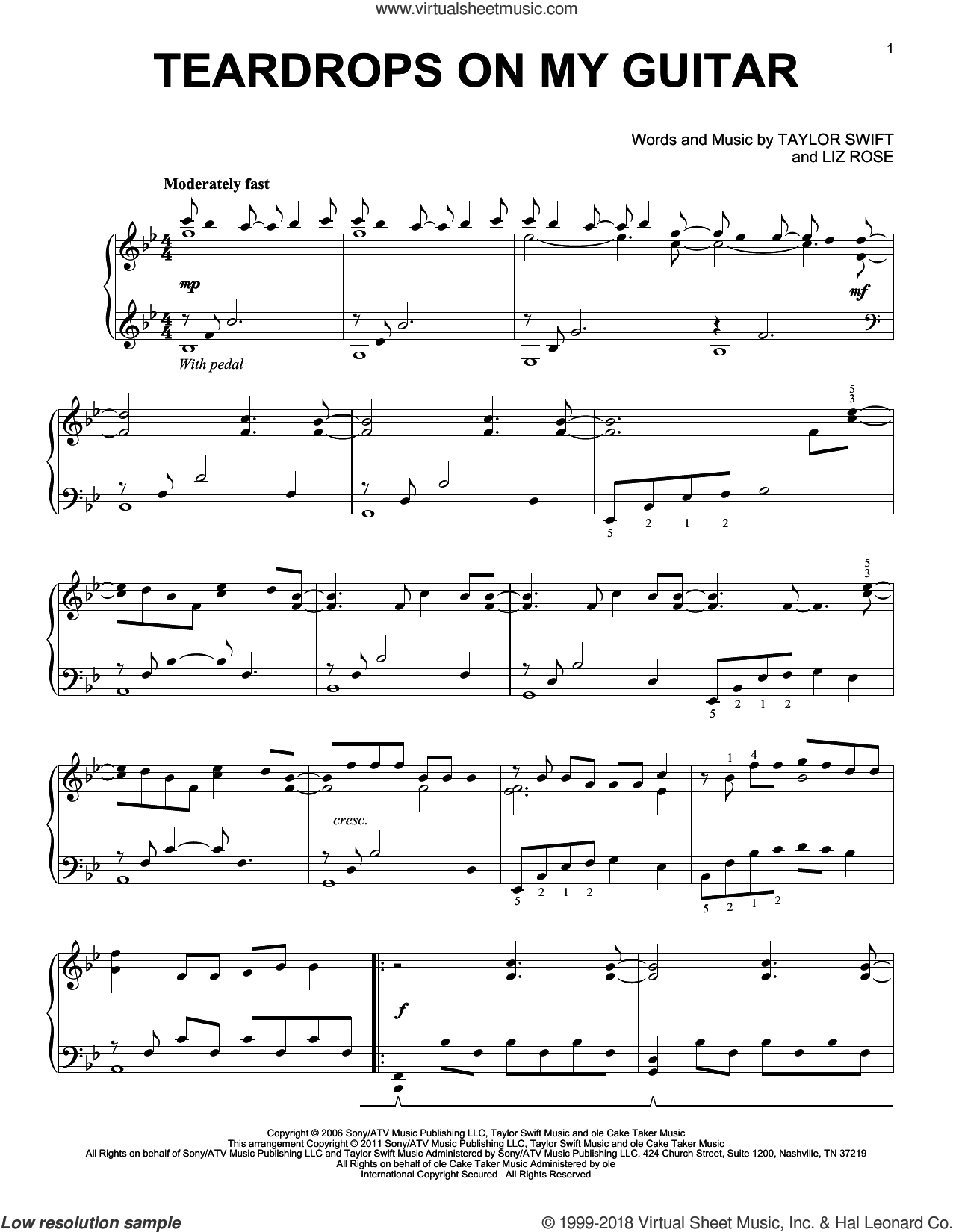 Teardrops On My Guitar sheet music for piano solo by Taylor Swift and Liz Rose, intermediate skill level
