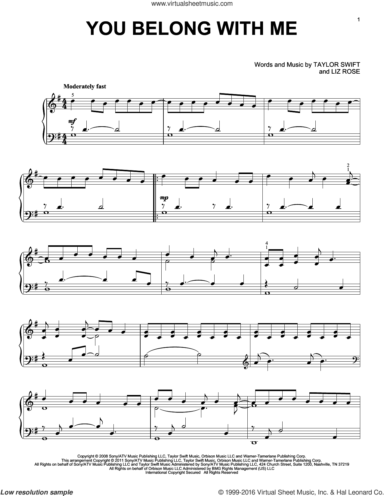 You Belong With Me, (intermediate) sheet music for piano solo by Taylor Swift and Liz Rose, intermediate skill level