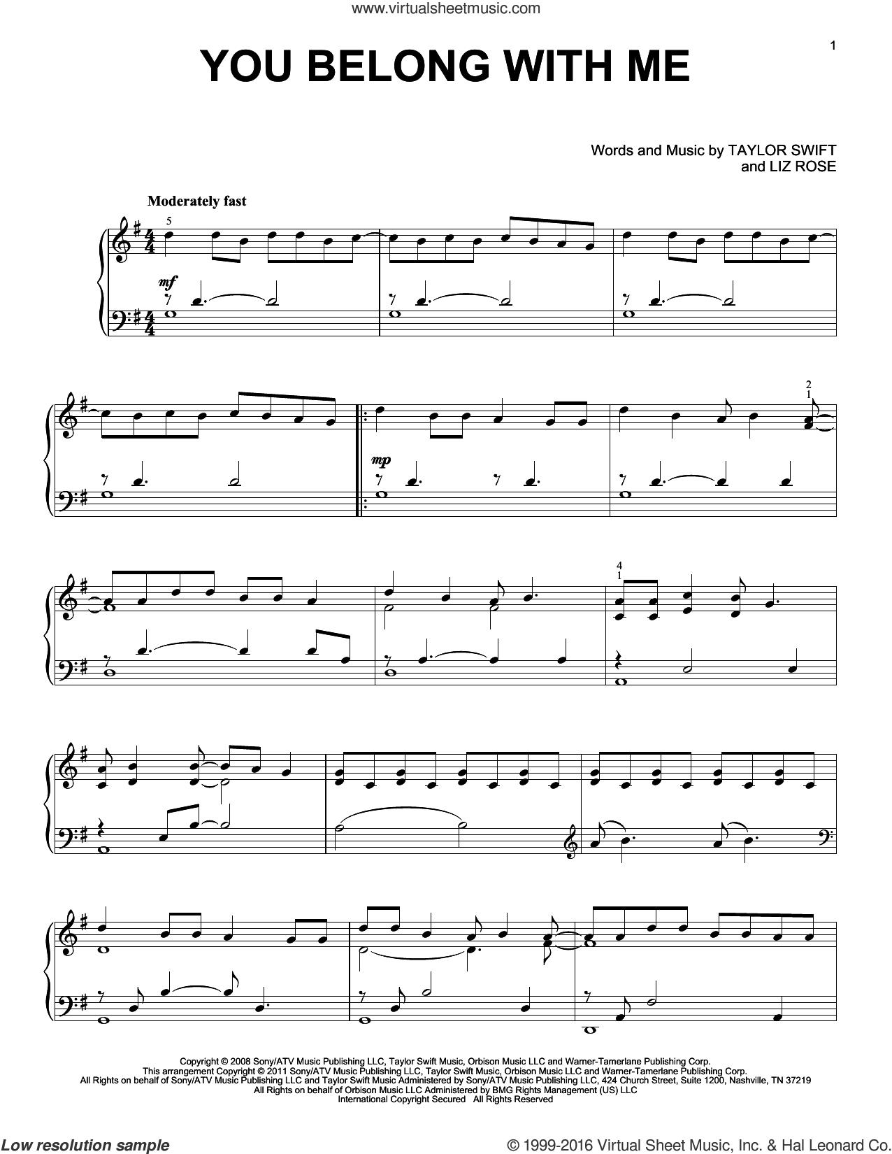 you belong to me sheet music pdf