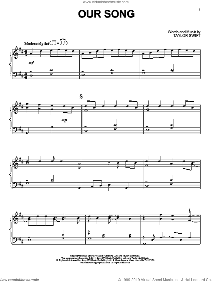 Our Song sheet music for piano solo by Taylor Swift, intermediate. Score Image Preview.
