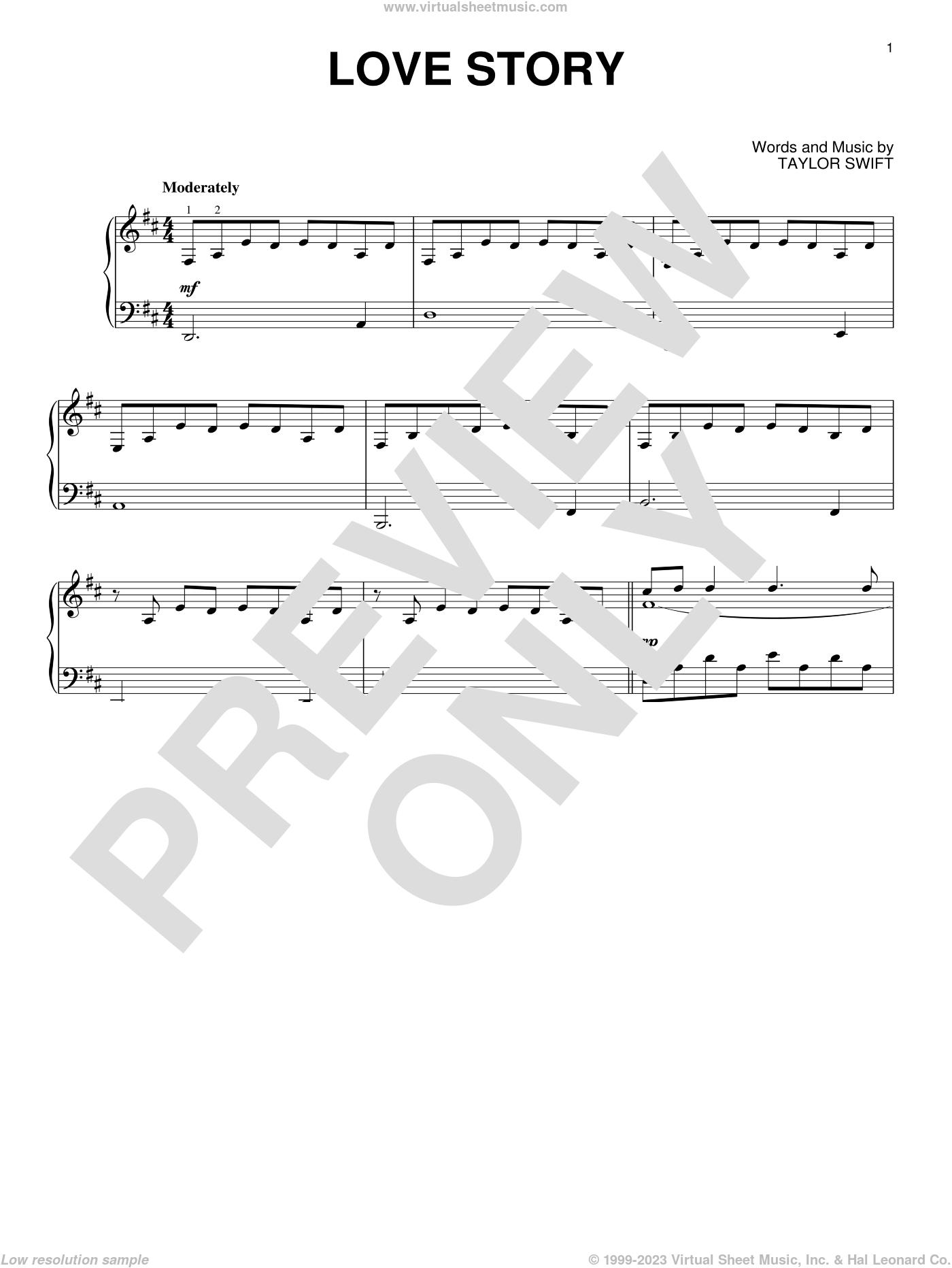 Love Story, (intermediate) sheet music for piano solo by Taylor Swift, intermediate skill level