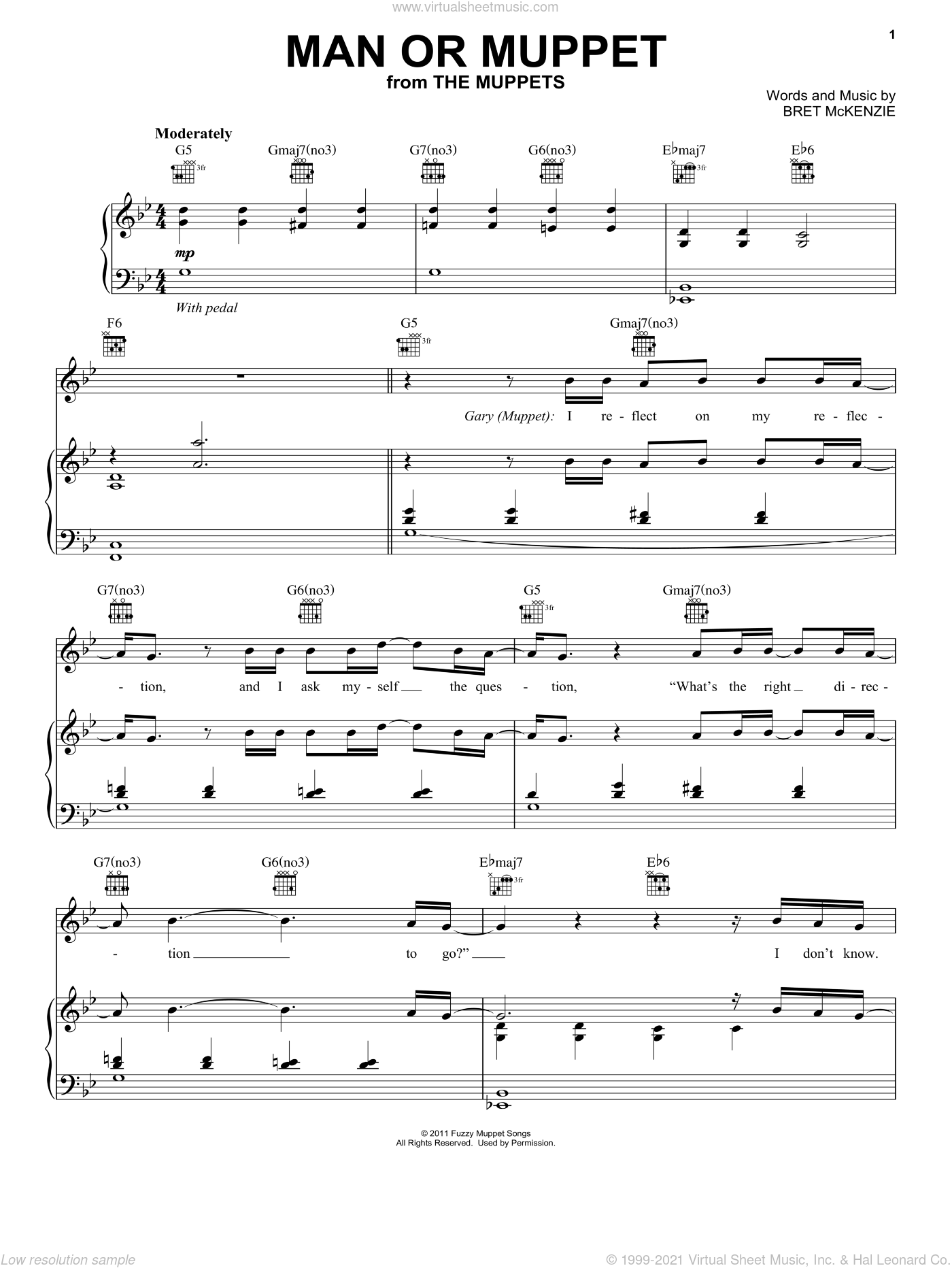 Man Or Muppet sheet music for voice, piano or guitar by The Muppets, The Muppets (Movie) and Bret McKenzie, intermediate skill level