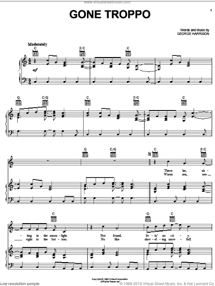 Gone Troppo sheet music for voice, piano or guitar by George Harrison, intermediate skill level