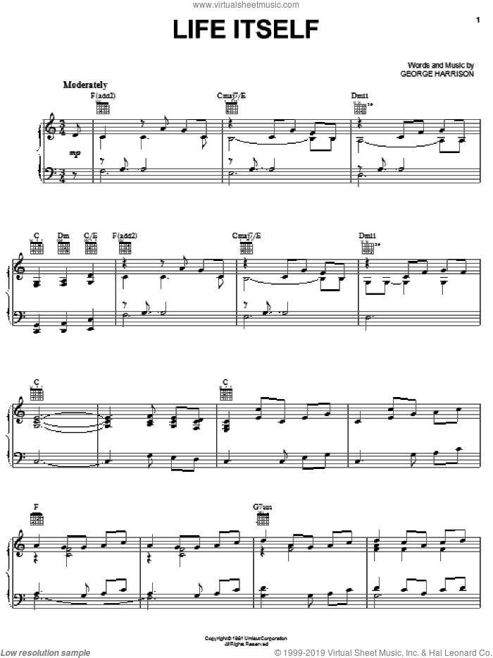 Life Itself sheet music for voice, piano or guitar by George Harrison, intermediate. Score Image Preview.