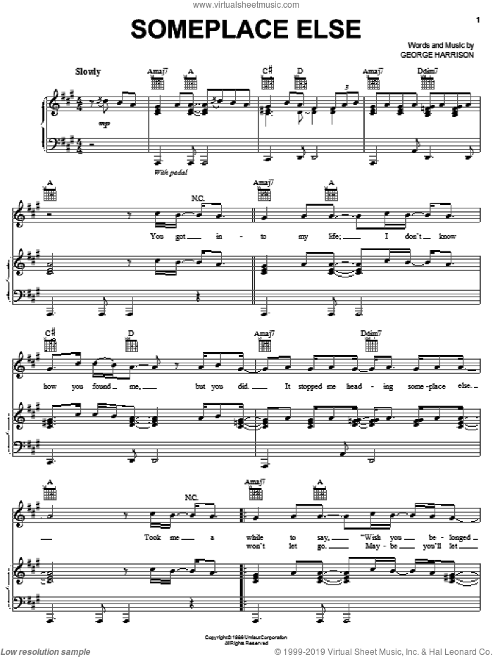 Someplace Else sheet music for voice, piano or guitar by George Harrison, intermediate voice, piano or guitar. Score Image Preview.
