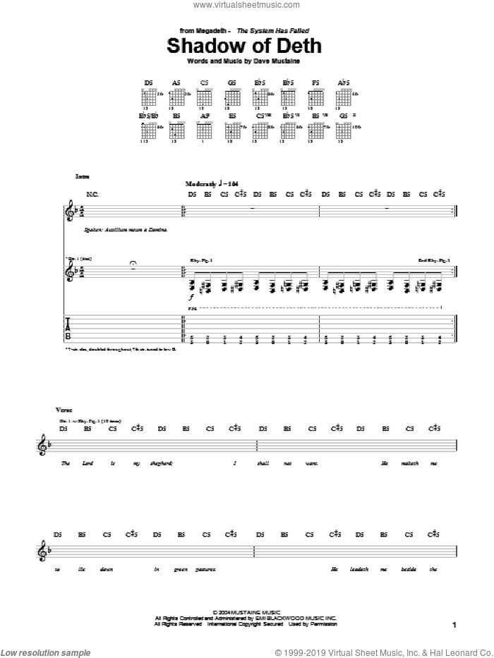 Shadow Of Deth sheet music for guitar (tablature) by Dave Mustaine and Megadeth. Score Image Preview.