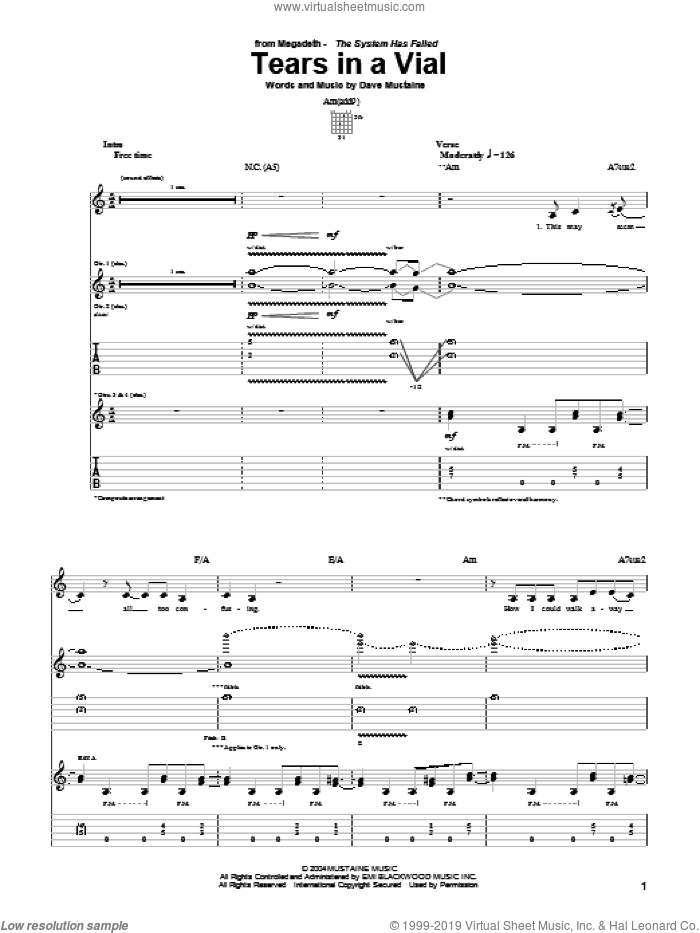 Tears In A Vial sheet music for guitar (tablature) by Dave Mustaine and Megadeth. Score Image Preview.