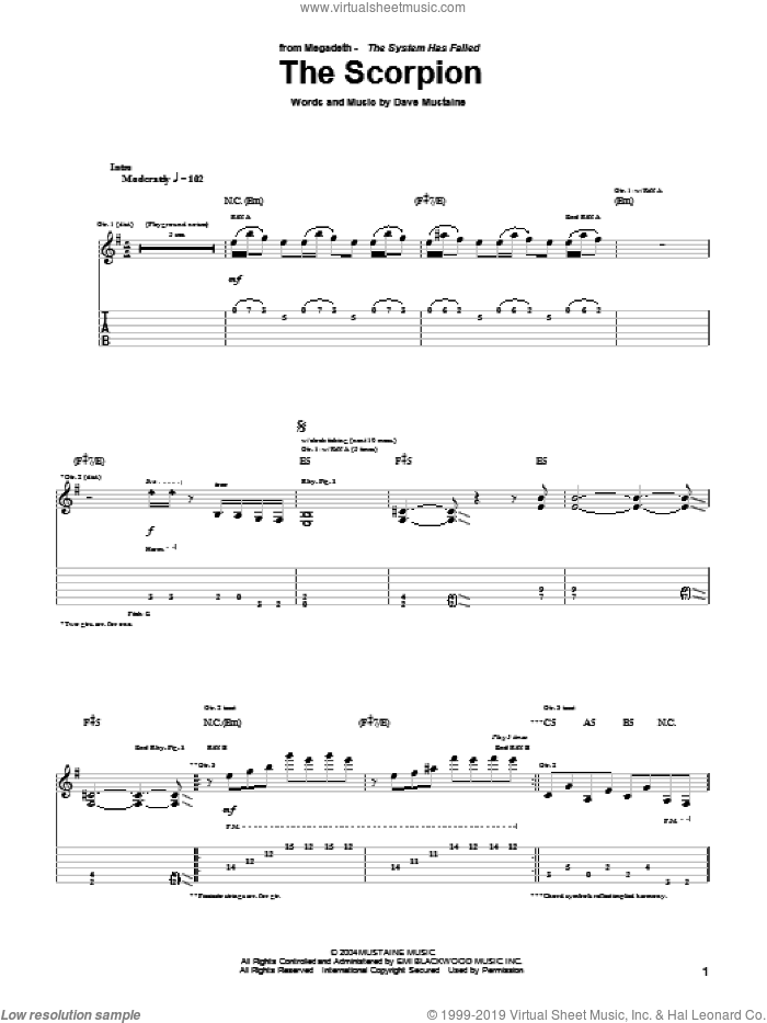The Scorpion sheet music for guitar (tablature) by Megadeth and Dave Mustaine, intermediate skill level